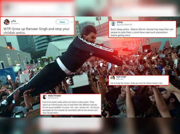 रणवीर सिंह के भीड़ पर कूदने से फैंस के घायल होने की खबर, दिया जवाब