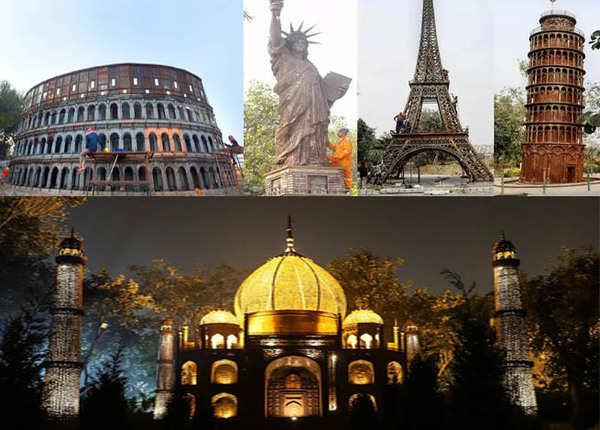 देखिए, दिल्ली में कबाड़ से बने दुनिया के 7 अजूबे