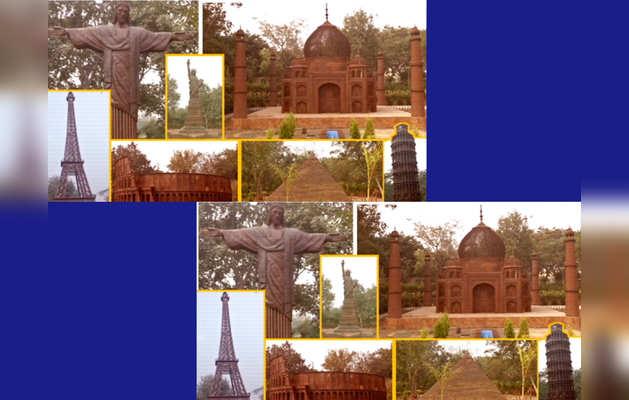 रद्दी के सामान से दिल्ली में री-क्रिएट किए गए दुनिया के सात अजूबे