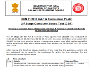 technician cbt 2 to release on 18th feb 2019 check details rrbald gov in