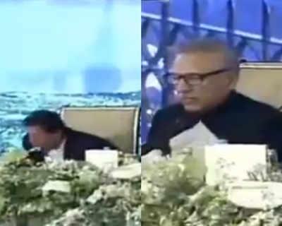 Pak PM Manch Par Khaane Mein Vyast, Raashtrapati De Rahe The Bhaashan, Vidiyo Vaayaral