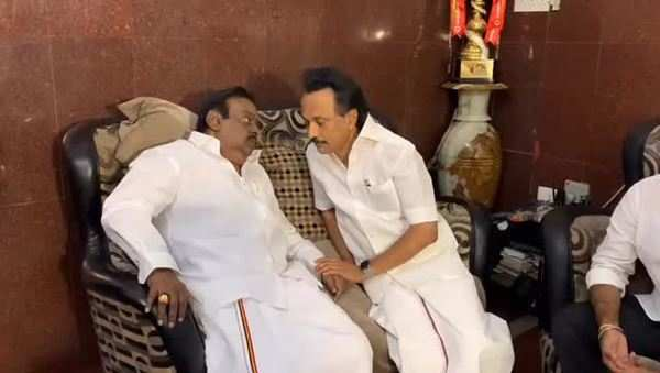 alliance of dmdk for lok sabha is inconclusive mk atalin meets vijayakanth in his residence on friday