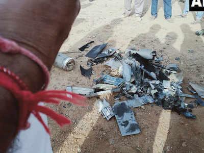 घटना स्थल पर पड़ा ड्रोन का मलबा