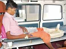 10 standard student who return public exam in ambulance as he had leg injury