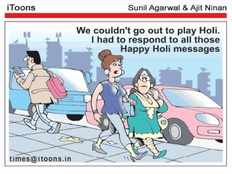 telugu cartoon jokes over holi festival