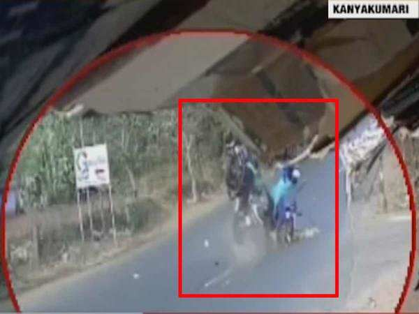 on cam bike collides with scooter in kanyakumari