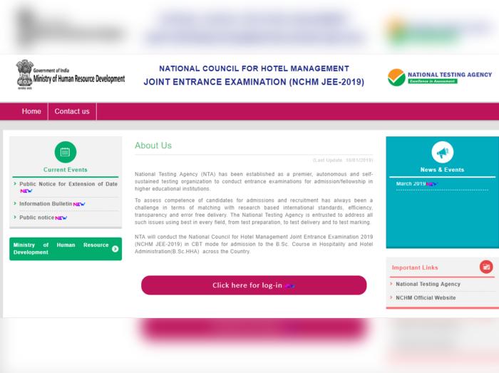 NCHM JEE 2019 Admit Card