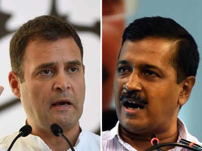 राहुल गांधी और अरविंद केजरीवाल।