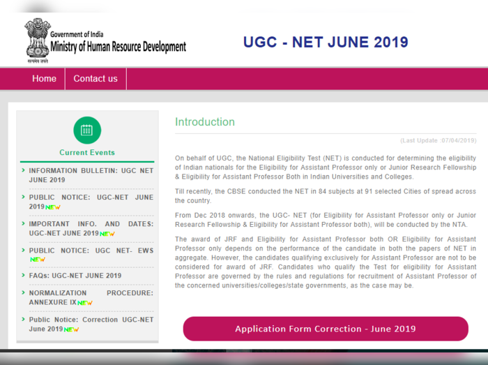 UGC NET CORRECTION 2019