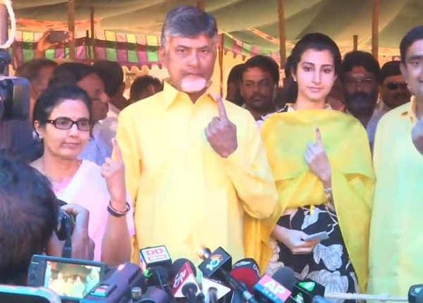 नायडू ने परिवार के साथ डाला वोट