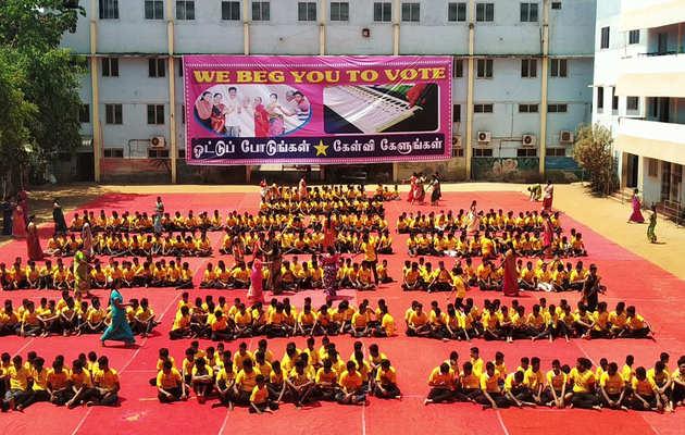 लोकसभा चुनाव 2019: चेन्नई में स्कूल के छात्रों ने वोटिंग करने के लिये चलाया जागरूकता अभियान