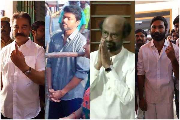 cinema stars casts their votes in tamil nadu