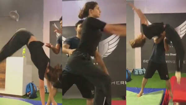 disha patani rocks the casual gym look perfectly nails back flip