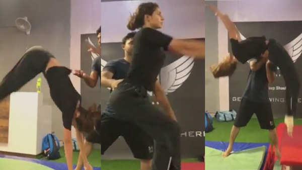 disha patani rocks the casual gym look perfectly nails back flip
