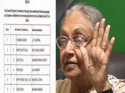 दिल्ली में कांग्रेस के 6 उम्मीदवार घोषित, उत्तर पूर्व दिल्ली से लड़ेंगी शीला दीक्षित