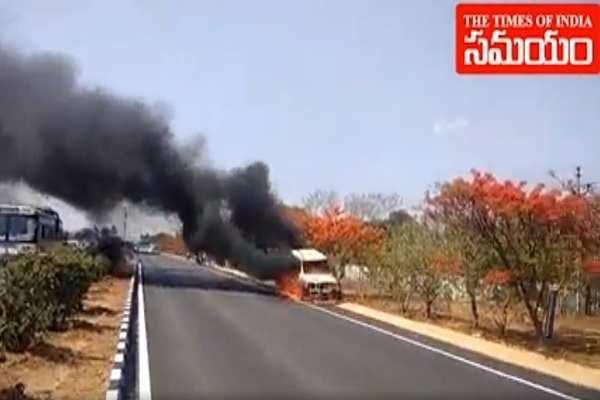 watch scorpio vehicle catches fire in mahabubnagar