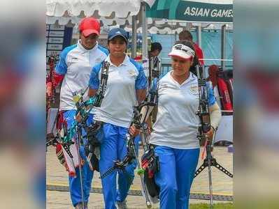 Indian archery team members during the women's compound team archery final match against Korea at the Asian Games 2018, in Jakarta on Tuesday, August 28, 2018.Photo/Shahbaz Khan)