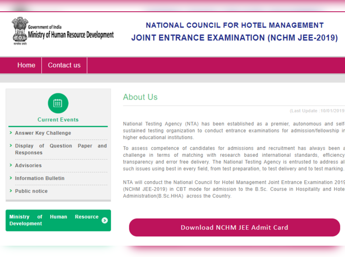 NCHM JEE 2019 RESULT
