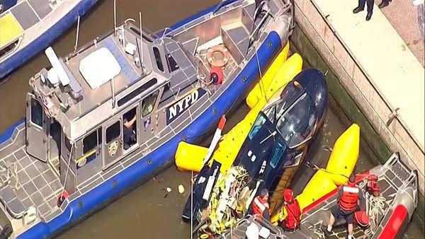 nyc helicopter makes crash landing pilot escapes unhurt