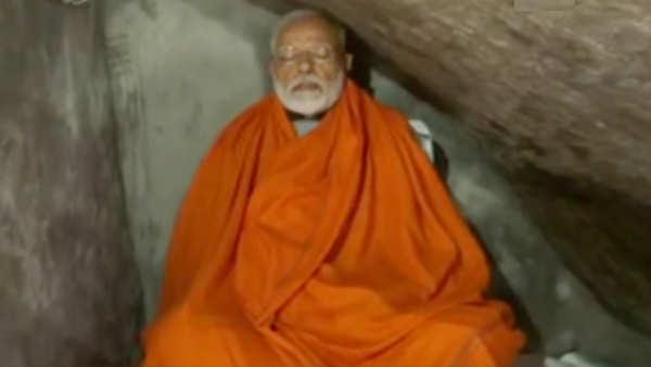 watch pm narendra modi meditates at holy cave near kedarnath shrine