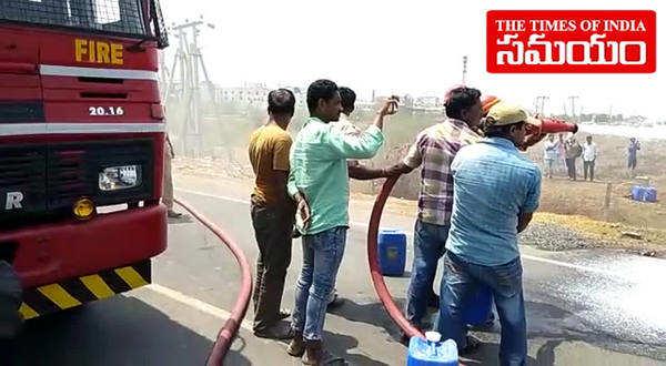 watch beer bottles load truck catches fire in kurnool
