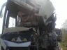 private luxury bus accident with standing lorry in tirupati