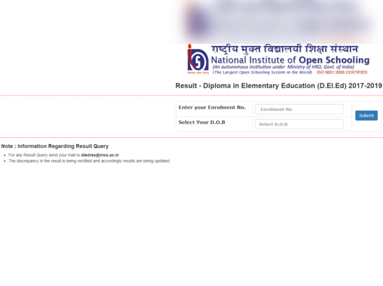 nios deled fourth semester result 2019
