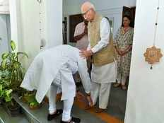 pm modi seeks blessings of bjp veterans lk advani murli manohar joshi