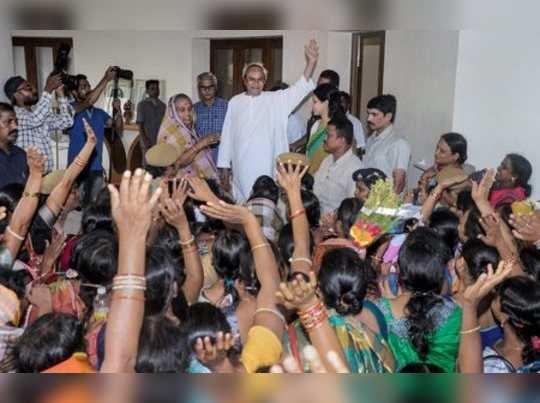 Bhubaneswar: Women activists greet Biju Janata Dal (BJD) chief Naveen Patnaik af...