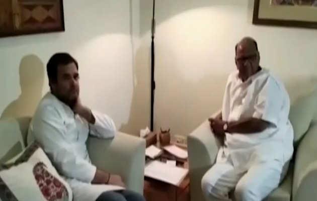 कांग्रेस अध्यक्ष राहुल गांधी ने एनसीपी प्रमुख शरद पवार से मुलाकात की
