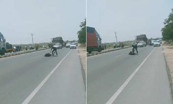 watch man stabbed to death on sangareddy highway at broad daylight