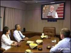 did barack obama watch pm modis swearing in ceremony