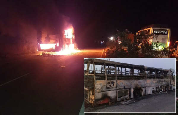bus travelling from hyderabad to bengaluru catches fire