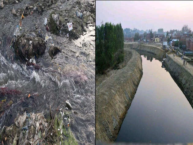 नदी पहले थी नाल सफाई के बाद बहने लगा पानी