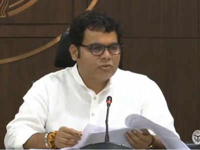 प्रेस कॉन्फ्रेंस करते मंत्री श्रीकांत शर्मा