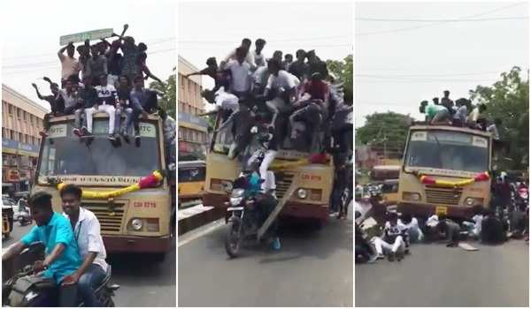 students travelling on the roof of bus fell down
