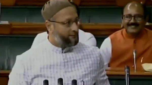jai shri ram chants greet asaduddin owaisi in parliament