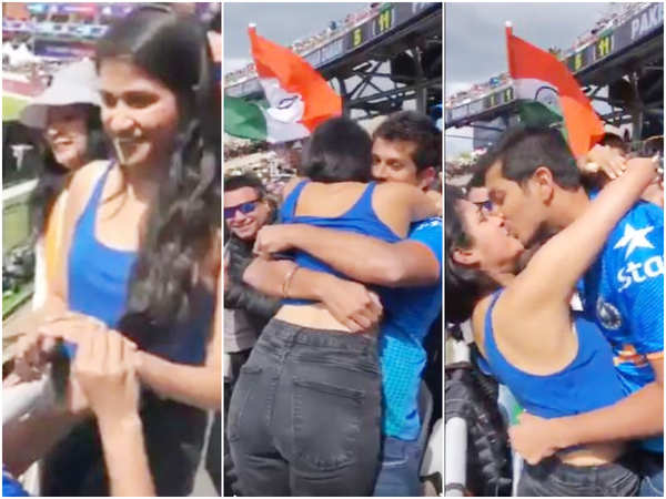 indian fan proposes to girlfriend during india vs pakistan icc cricket world cup 2019 game at old trafford is going viral