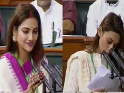 Image result for नुसरत जहां और मिमी चक्रवर्ती आज संसद में