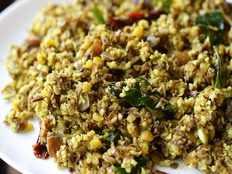 vazhaipoo poriyal recipe or banana flower poriyal recipe in tamil