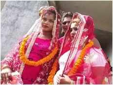 first same sex marriage in varanasi lesbian couple marries in temple