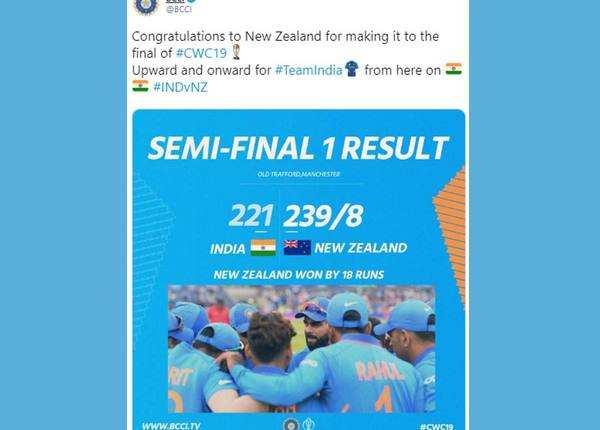 BCCI ने न्यू जीलैंड को दी बधाई