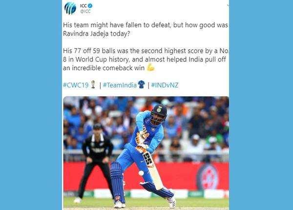 आईसीसी ने की जडेजा के खेल की तारीफ