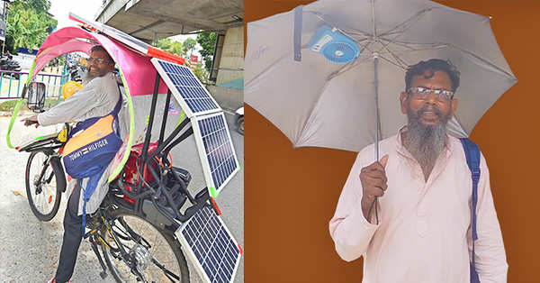 watch video of xavier from kochi who invented solar powered bicycle and umbrella with fan