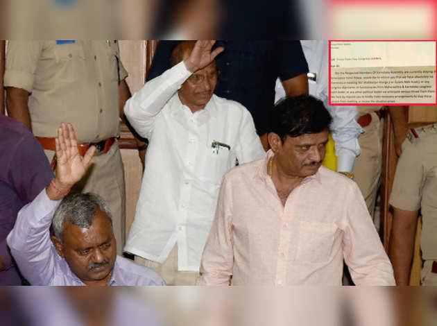 कर्नाटक के बागी विधायकों ने जताया जान को खतरा, पुलिस को लिखा खत