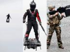 फ्रांस मिलिटरी परेड: उड़ रहे हथियारबंद शख्स ने सबको चौंकाया