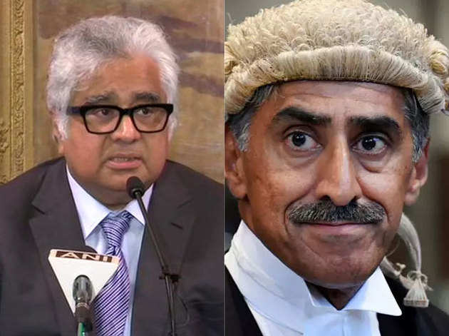 हरीश साल्वे (बाएं) और पाकिस्तानी वकील खावर कुरैशी (दाएं)
