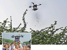 seeds droped in aravali by drone by bharat vikas parishad