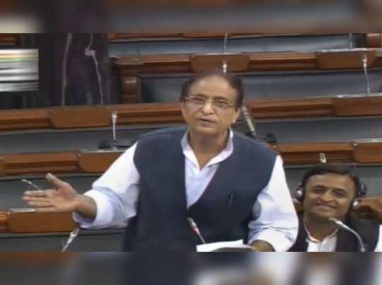 **EDS: TV GRAB** New Delhi: Samajwadi Party MP Azam Khan speaks in the Lok Sabha...