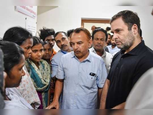Wayanad: Congress leader Rahul Gandhi interacts with the people affected by floo...